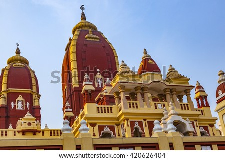 Shri Digambar Jain Lal Mandir Temple in Delhi under blue sky - stock photo