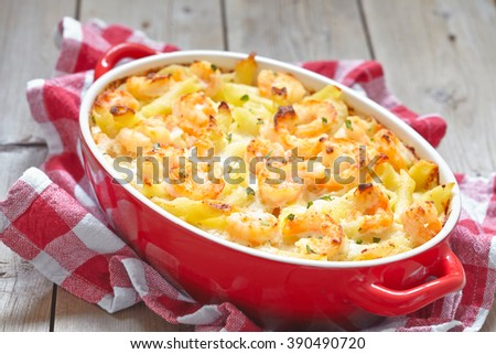Shrimp Alfredo Penne Pasta Bake - stock photo