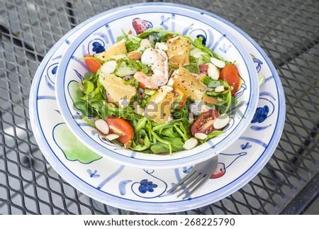 Shrimp and Arugula Salad - stock photo