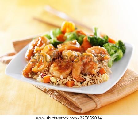 shrimp and fried rice teriyaki dish - stock photo
