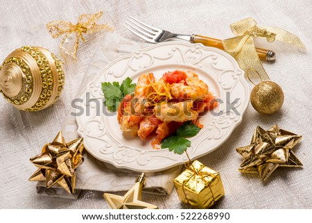 shrimp appetizer over christmas table