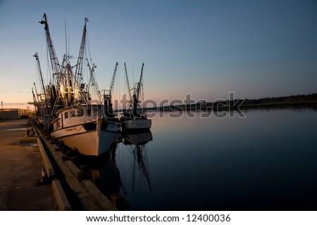 shrimp boats - stock photo