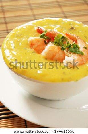 shrimp bobo -  a Brazilian dish of shrimp in a pur�©e of manioc meal and coconut milk - stock photo