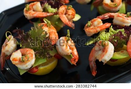 shrimp canape starter - stock photo