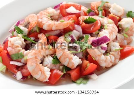shrimp ceviche , prawn ceviche, seafood marinated salad - stock photo
