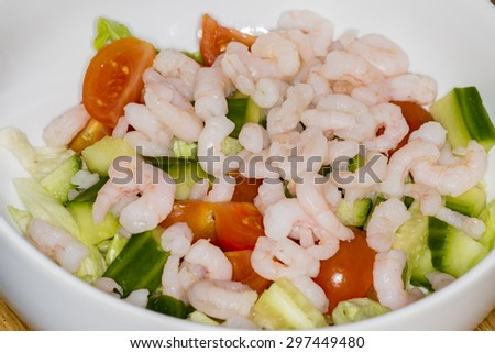 shrimp cocktail appetizer with salad - stock photo
