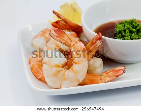 Shrimp Cocktail Isolated on a White Background. - stock photo