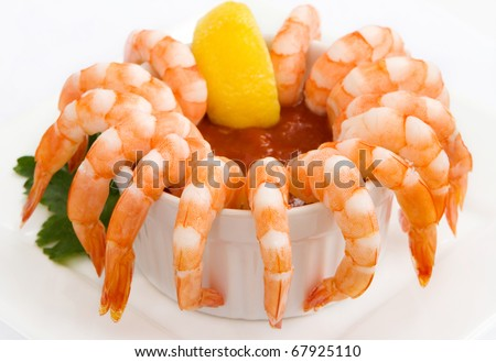 Shrimp cocktail isolated on white - stock photo