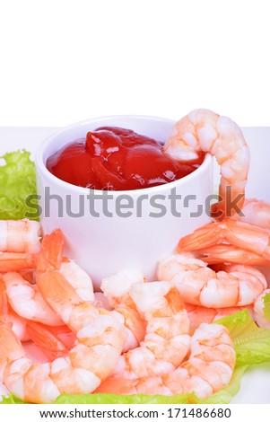 Shrimp cocktail isolated on white background - stock photo