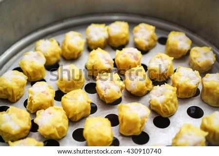 Shrimp dumplings steamed on the grill - stock photo