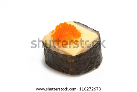 shrimp eggs with cheese sushi ,japanese food on white background