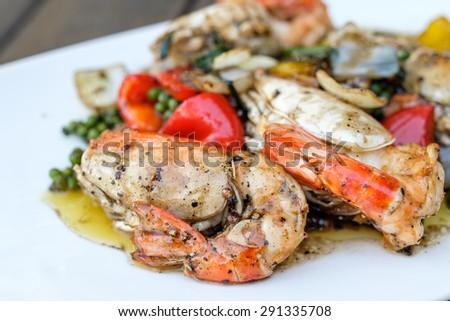 shrimp fried with black pepper - stock photo