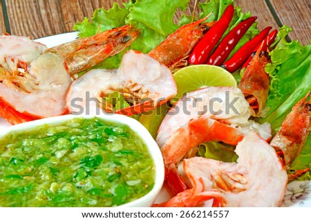 shrimp Grilled and sauce sae food