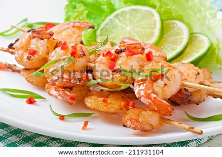 Shrimp grilled in garlic and soy caramel - stock photo