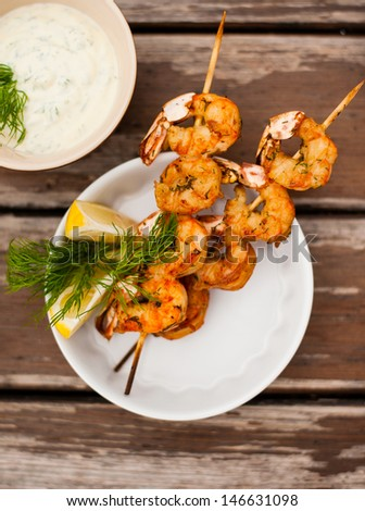 shrimp grilled with sauce - stock photo