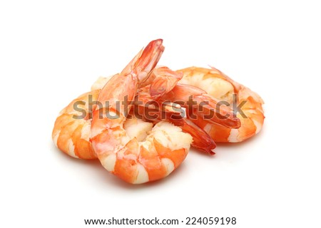 shrimp isolated on white background - stock photo