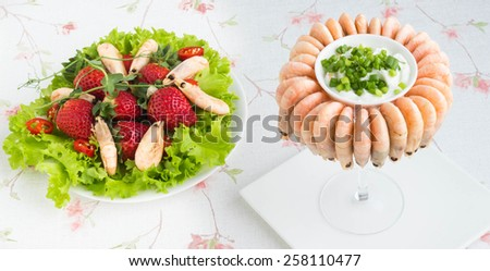 Shrimp on the festive table