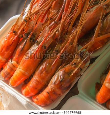 Shrimp on the market - stock photo