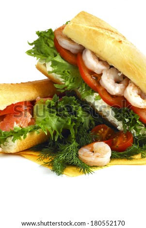 Shrimp Po-Boy sandwich isolated on white background copy space - stock photo
