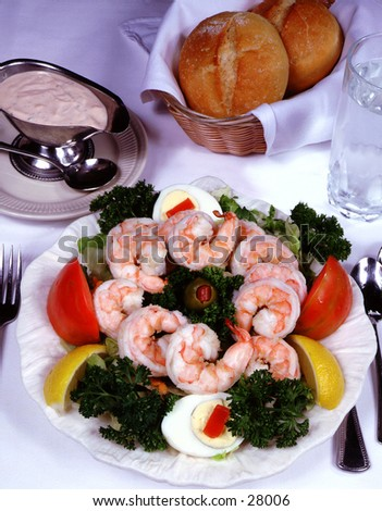 Shrimp Salad with bread - stock photo