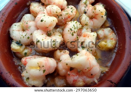 Shrimp Scampi in a Butter and White Wine Sauce with Garlic, Pepper, Lemon Zest  - stock photo