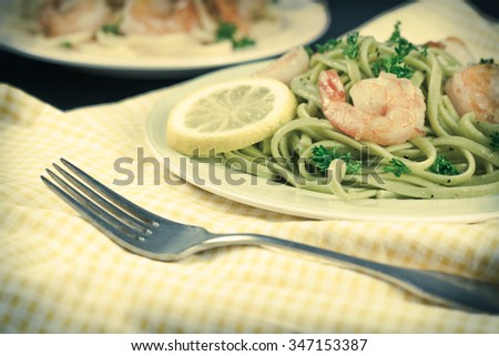 Shrimp scampi with linguine lemon and parsley