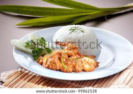 shrimp serve with rice asia food