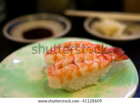 Shrimp sushi in Tokyo, Japan. - stock photo