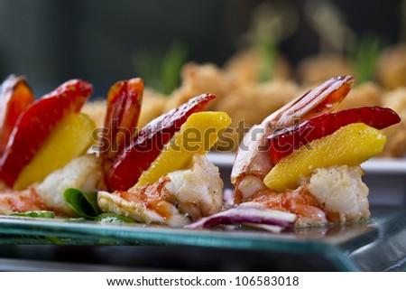 shrimp tapas / appetizer food - stock photo