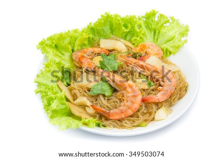 Shrimp vermicelli Thai food on background