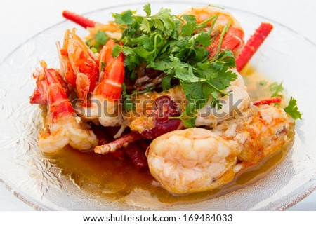 Shrimp with Garlic in dish