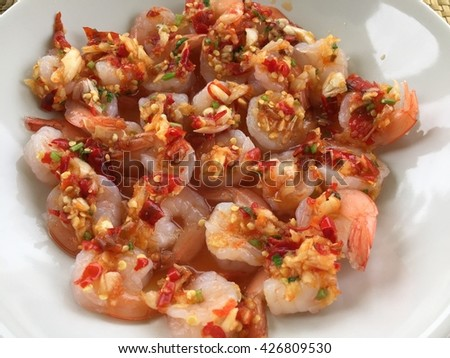 Shrimp with lemon and Spicy on white plate  - stock photo