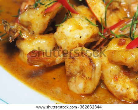 Shrimp with Red Curry, Thai's Food