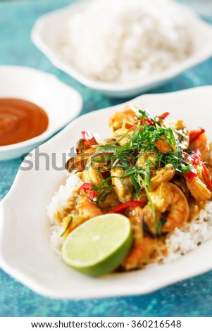 shrimps curry - stock photo