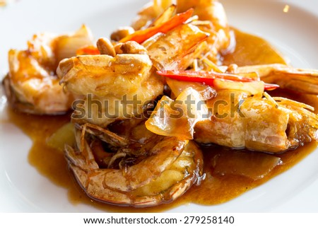 Shrimps in tamarind sauce that favour in Thailand and Asia. - stock photo