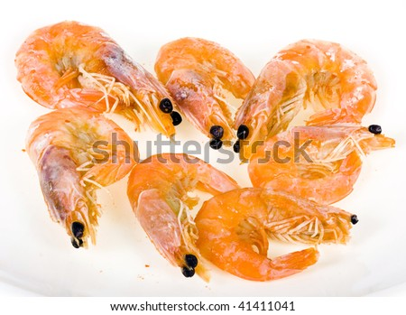 shrimps isolated  on the white