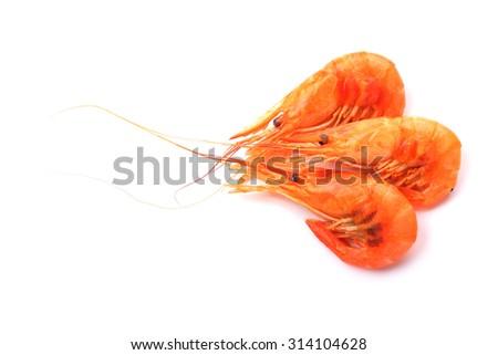 Shrimps isolated on white background - stock photo