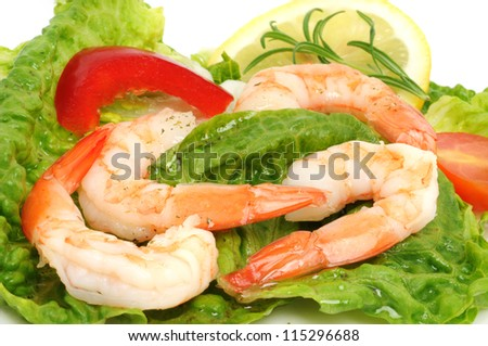 Shrimps on white plate