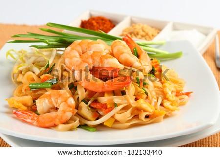 Shrimps Pad Thai, Thai Food - stock photo