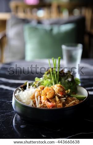 Shrimps Pad Thai Thai food noodles - stock photo
