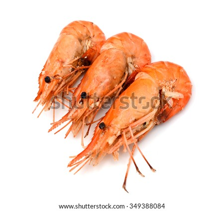 Shrimps. Prawns isolated on a White Background. Seafood - stock photo