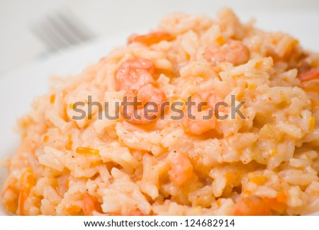 Shrimps Risotto - stock photo