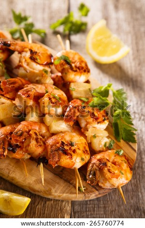 Shrimps skewers - stock photo