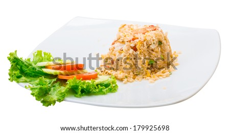 Shrimps with fried rice and vegetable salad - stock photo
