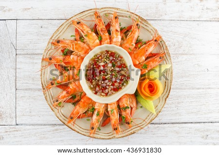 Shrimps with Seafood Chili Sauce - stock photo