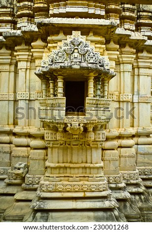 Shrine in Ranakpur Jain temple, Rajasthan, India - stock photo