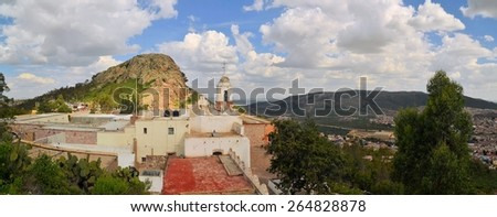 Shrine of Our Lady of Patrocinio is a chapel on a hill with a cable car in Zacatecas, Mexico - stock photo