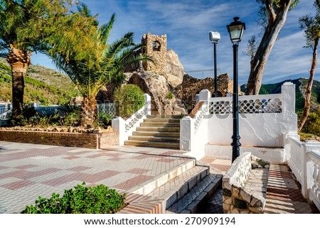 Shrine to the Virgin of the Rock in Mijas. Mijas is a lovely Andalusian town on the Costa del Sol. Spain  - stock photo