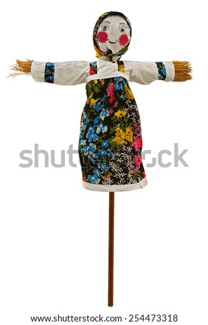 Shrovetide. Big doll for the burning isolated on white. Clipping path included. - stock photo