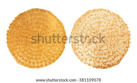 Shrovetide, Maslenitsa, fishnet two sides of the pancake, flapjack,slapjack, isolated on the white - stock photo
